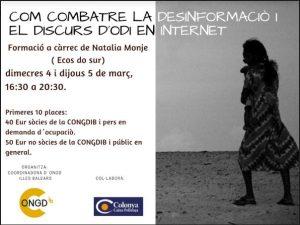 FORMACIÓ Com combatre la desinformaciò i el discurs de d´odi en internet @ Aula 3 Edifici Sa Riera